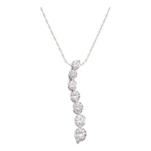 14kt White Gold Womens Round Diamond Journey Pendant 1/2 Cttw