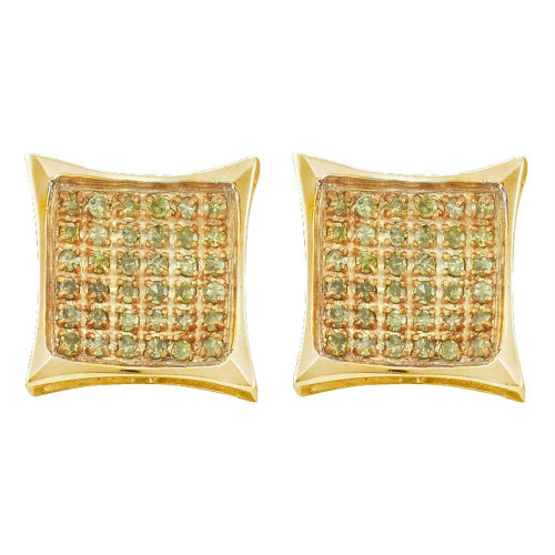 10kt Yellow Gold Mens Round Color Enhanced Diamond Square Kite Cluster Earrings 1/10 Cttw