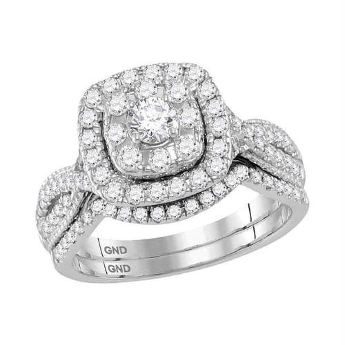 14kt White Gold Womens Round Diamond Halo Bridal Wedding Engagement Ring Band Set 1.00 Cttw - 118484