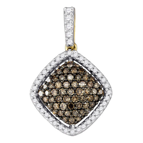10kt Yellow Gold Womens Round Cognac-brown Color Enhanced Diamond Square Cluster Pendant 1/2 Cttw