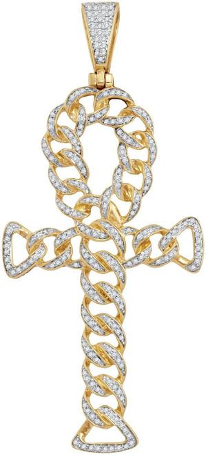 10kt Yellow Gold Mens Round Diamond Ankh Cross Cuban Link Charm Pendant 7/8 Cttw