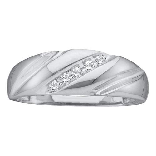 10k White Gold Round Channel-set Diamond Mens Wedding Anniversary Band 1/10 Cttw
