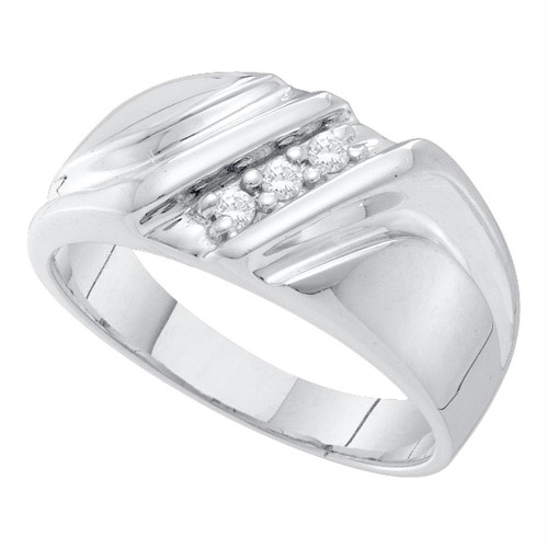 10k White Gold Mens Round Diamond Wedding Anniversary Band Ring Masculine 1/10 Cttw