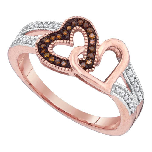 10kt Rose Gold Womens Round Red Color Enhanced Diamond Double Heart Love Ring 1/6 Cttw - 89707-11