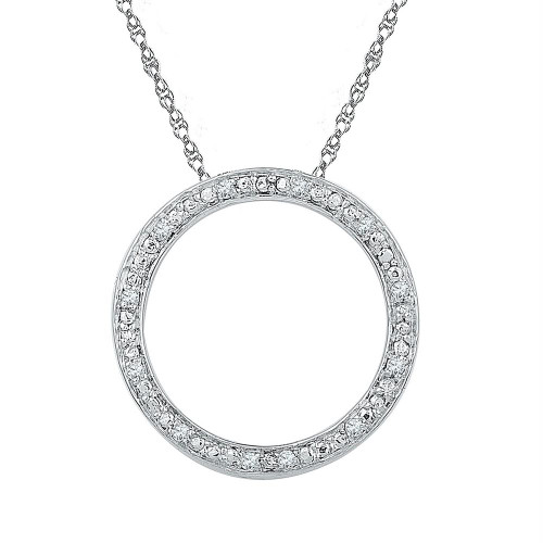 Sterling Silver Womens Round Diamond Circle Outline Pendant 1/20 Cttw