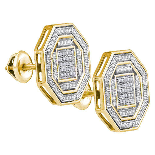 Sterling Silver Mens Round Diamond Octagon Cluster Stud Earrings 1/6 Cttw - 82615