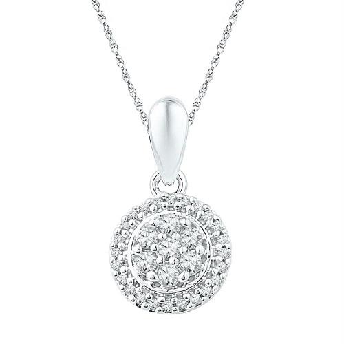 10kt White Gold Womens Round Diamond Halo Flower Cluster Pendant 1/4 Cttw