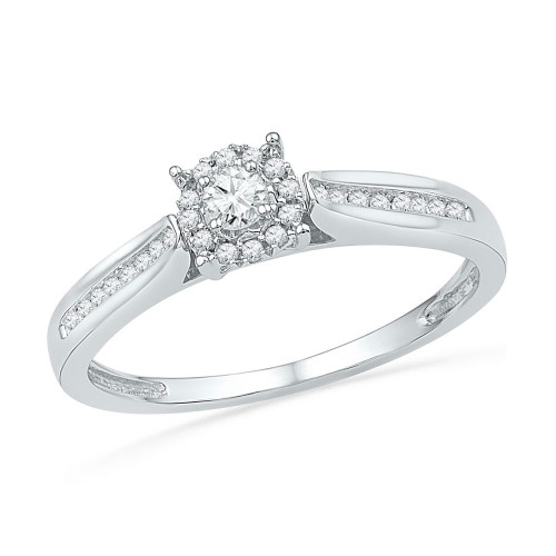 10kt White Gold Womens Round Diamond Solitaire Bridal Wedding Engagement Ring 1/6 Cttw - 100775-10