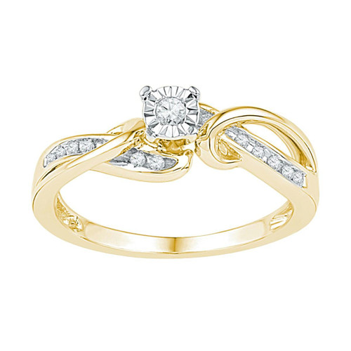 10kt Yellow Gold Womens Round Diamond Solitaire Bridal Wedding Engagement Ring 1/8 Cttw - 108644-10