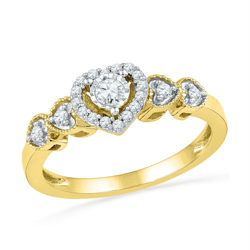 10kt Yellow Gold Womens Round Diamond Solitaire Framed Heart Ring 1/5 Cttw