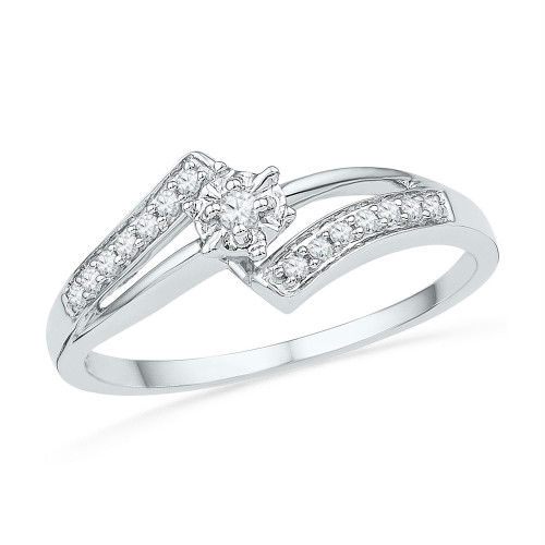10kt White Gold Womens Round Diamond Solitaire Bridal Wedding Engagement Ring 1/10 Cttw - 100902-6