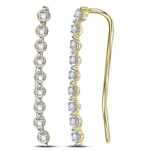 10kt Yellow Gold Womens Round Diamond Climber Earrings 1/20 Cttw