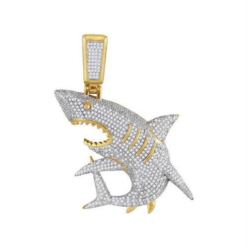 10kt Yellow Gold Mens Diamond Shark Nautical Charm Fashion Pendant 1 & 1/2 Cttw