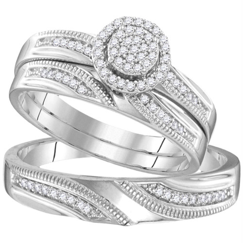 Sterling Silver His & Hers Round Diamond Cluster Matching Bridal Wedding Ring Band Set 1/4 Cttw - 107700-5.5