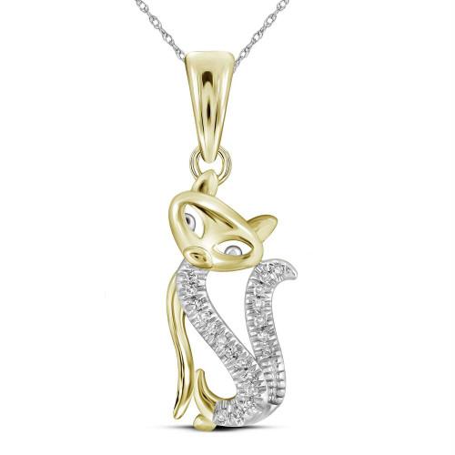 10kt Yellow Gold Womens Round Diamond Kitty Cat Animal Pendant 1/20 Cttw