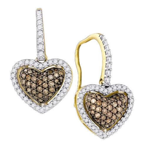 10kt Yellow Gold Womens Cognac-brown Color Enhanced Diamond Heart Dangle Earrings 5/8 Cttw