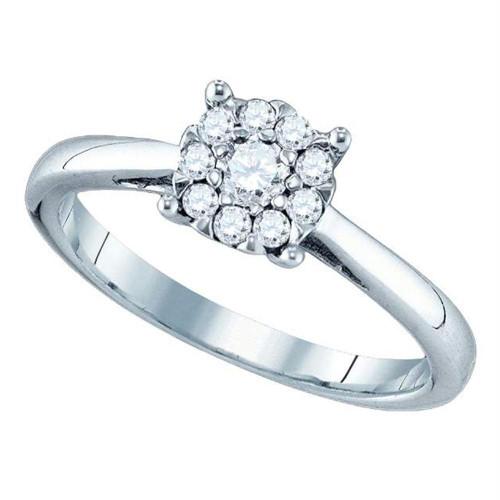 18kt White Gold Womens Round Diamond Cluster Bridal Wedding Engagement Ring 3/4 Cttw