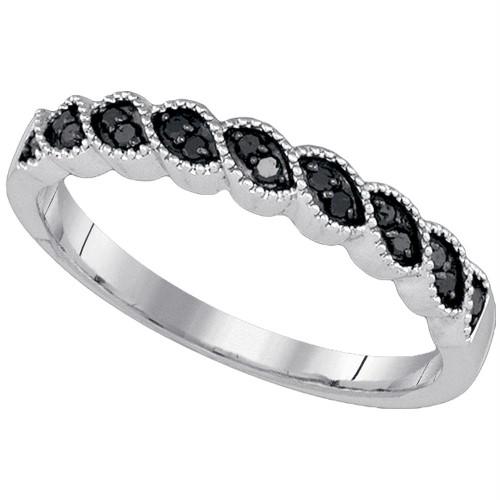 10k White Gold Black Color Enhanced Round Diamond Womens Wedding Anniversary Band 1/5 Cttw