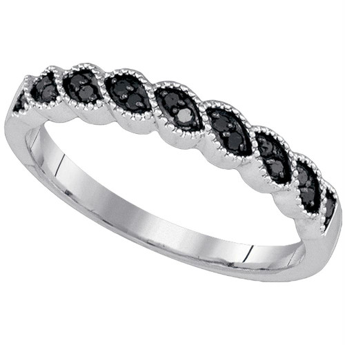 10k White Gold Black Color Enhanced Round Diamond Womens Wedding Anniversary Band 1/5 Cttw