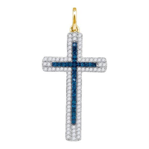 10kt Yellow Gold Womens Round Blue Color Enhanced Diamond Christian Cross Pendant 1/4 Cttw