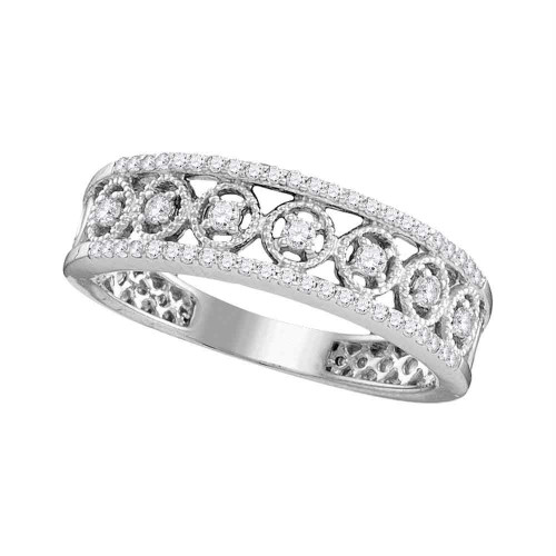 10kt White Gold Womens Round Diamond Filigree Symmetrical Band Ring 1/4 Cttw - 109810-10.5