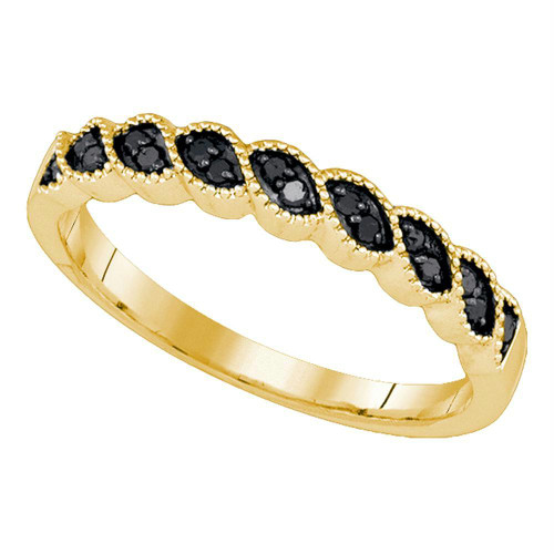 10k Yellow Gold Black Color Enhanced Round Diamond Womens Wedding Anniversary Band 1/5 Cttw