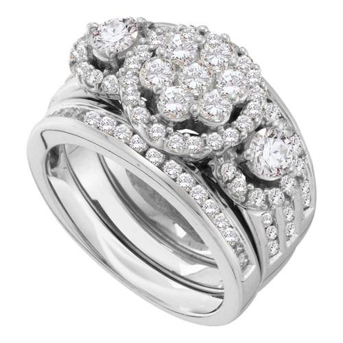 14kt White Gold Womens Round Diamond 3-Piece Bridal Wedding Engagement Ring Band Set 2.00 Cttw - 52339-5.5