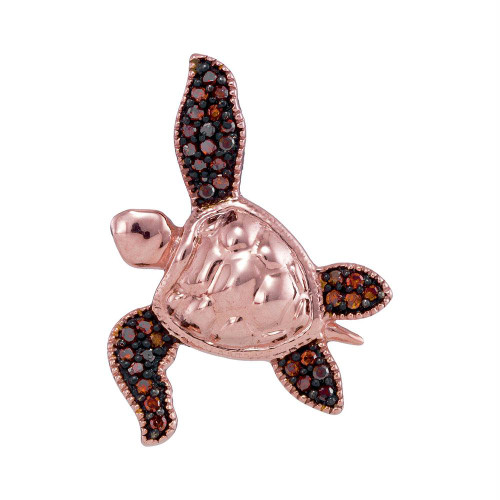 10kt Rose Gold Womens Round Red Color Enhanced Diamond Sea Turtle Tortoise Pendant 1/10 Cttw