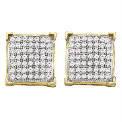 10kt Yellow Gold Womens Round Diamond Square Cluster Screwback Earrings 1/3 Cttw