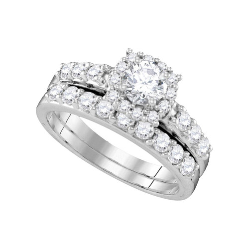 14k White Gold Womens Round Diamond Halo Bridal Wedding Engagement Ring Band Set 1-1/2 Cttw
