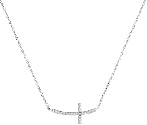 10kt White Gold Womens Round Diamond Small Horizontal Cross Pendant Necklace 1/20 Cttw