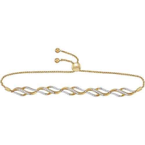 10kt Yellow Gold Womens Round Diamond Bolo Bracelet 1/3 Cttw