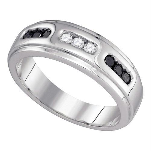 10k White Gold Black Color Enhanced Diamond Channel-set Mens Wedding Anniversary Band Ring 1/3 Cttw