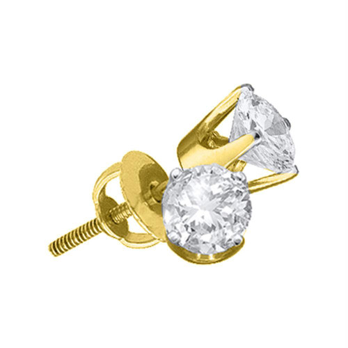 14kt Yellow Gold Unisex Round Diamond Solitaire Stud Earrings 1.00 Cttw - 12228