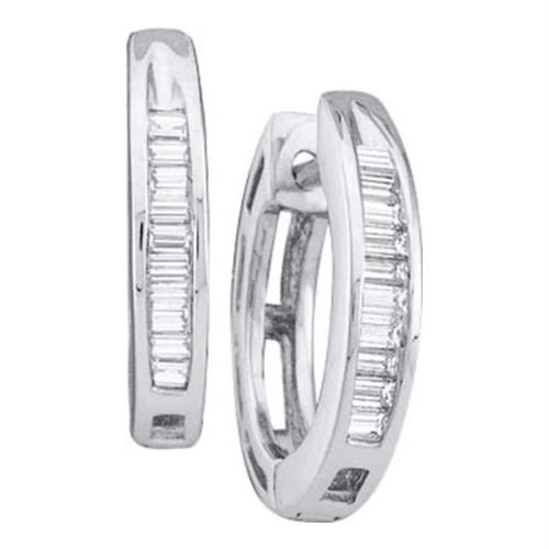 14kt White Gold Womens Baguette Diamond Huggie Earrings 1/6 Cttw
