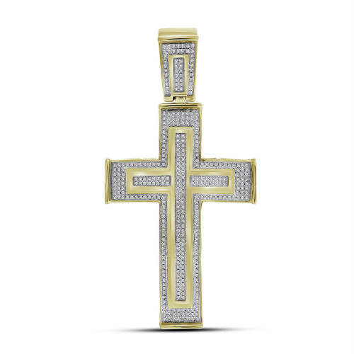 10kt Yellow Gold Mens Round Diamond Cross Crucifix Charm Pendant 7/8 Cttw