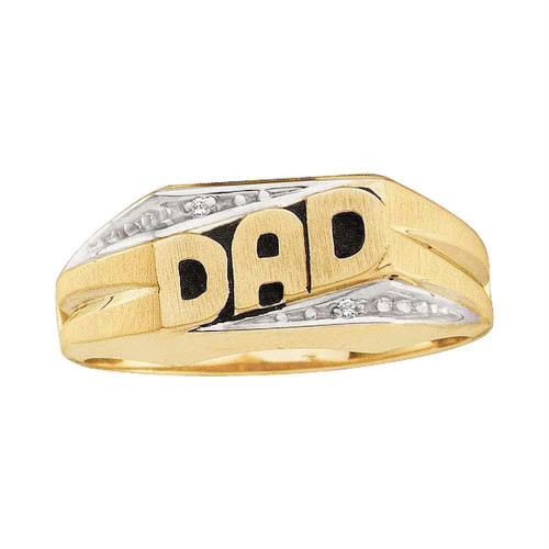 14kt Yellow Gold Mens Round Diamond Dad Father Band Ring .01 Cttw