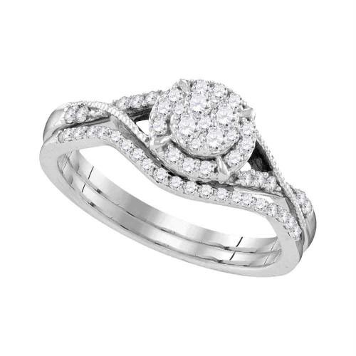 10kt White Gold Womens Round Diamond Bridal Wedding Engagement Ring Band Set 3/8 Cttw - 109551-7