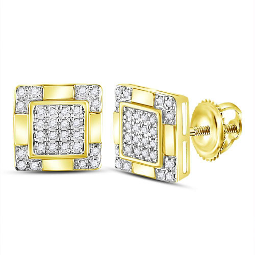 10kt Yellow Gold Mens Round Diamond Square Cluster Stud Earrings 1/6 Cttw - 120028