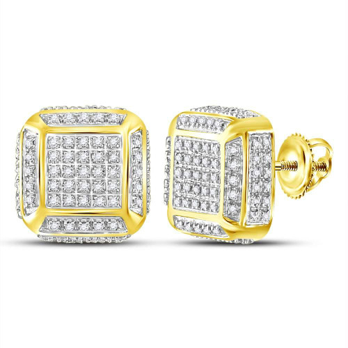 10kt Yellow Gold Mens Round Diamond Square Cluster Stud Earrings 1/2 Cttw