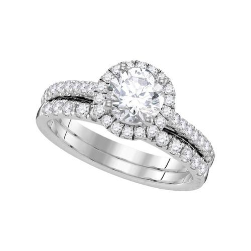 14kt White Gold Womens Round Diamond Halo Bridal Wedding Engagement Ring Band Set 1-1/3 Cttw - 109840-7.5