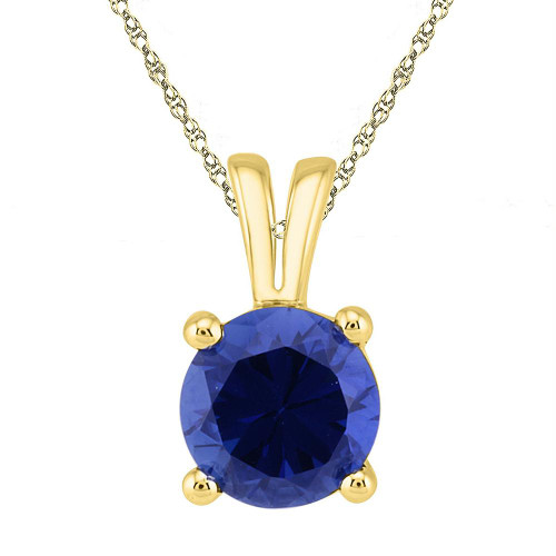 10kt Yellow Gold Womens Round Lab-Created Blue Sapphire Solitaire Pendant 1-1/3 Cttw