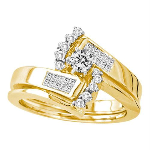 14kt Yellow Gold Womens Round Diamond Bridal Wedding Engagement Ring Band Set 1/2 Cttw - 10494-8.5