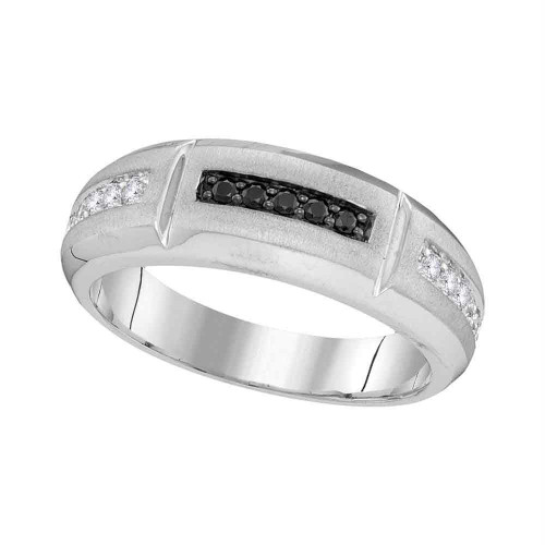 10kt White Gold Mens Round Black Color Enhanced Diamond Notched Band Ring 1/4 Cttw