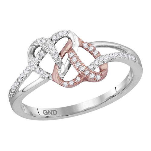 10kt White Rose-tone Gold Womens Round Diamond Double Linked Heart Ring 1/6 Cttw
