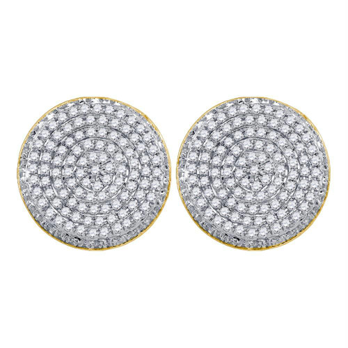 10kt Yellow Gold Mens Round Diamond Circle Cluster Stud Earrings 5/8 Cttw - 67879