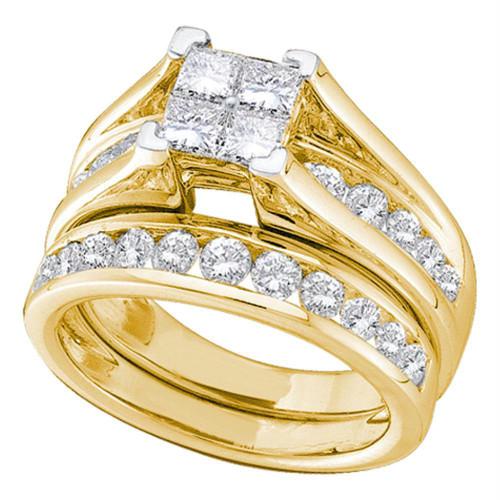 14kt Yellow Gold Womens Princess Diamond Bridal Wedding Engagement Ring Band Set 2.00 Cttw - 38017-5