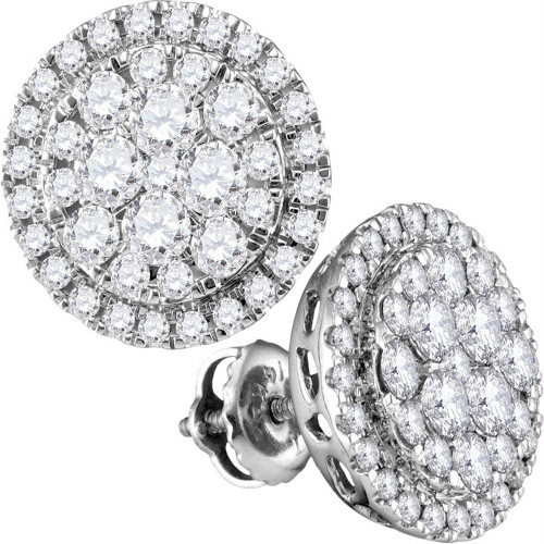 14kt White Gold Womens Round Diamond Flower Cluster Circle Frame Earrings 1.00 Cttw