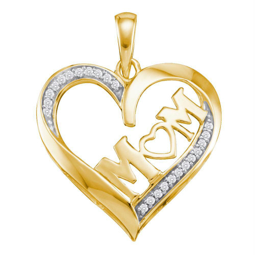 10kt Yellow Gold Womens Round Diamond Heart Love Mom Mother Pendant 1/12 Cttw