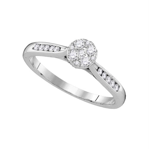 14kt White Gold Womens Round Diamond Cluster Bridal Wedding Engagement Ring 1/4 Cttw - 107427-5